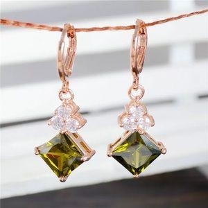 Jewelry - NEW! Gorgeous green stone and Cz diamonds